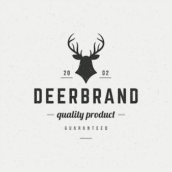 ロゴタイプのビンテージスタイルの鹿頭デザイン要素