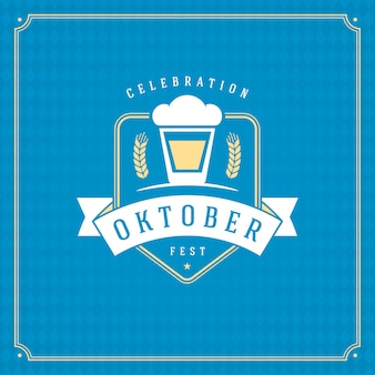オクトーバーフェストビール祭りお祝いビンテージグリーティングカードまたはポスターと青い市松模様の背景