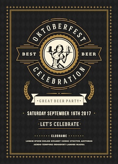 オクトーバーフェストビール祭りのお祝いレトロなタイポグラフィポスター