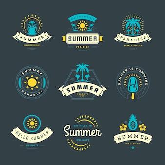 夏休みラベルとロゴセット