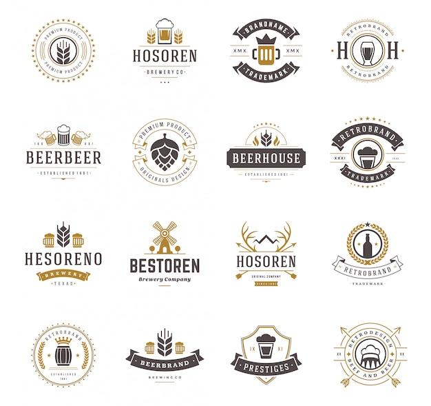 Установите значки логотипов пива и винтажную иллюстрацию стиля ярлыков.