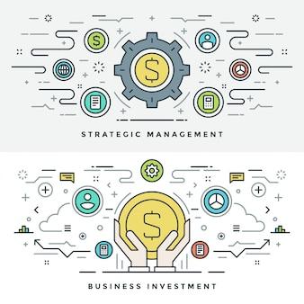 Плоская линия бизнес-инвестиции и управление. иллюстрации.
