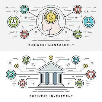 Плоская линия инвестиции и управление бизнесом