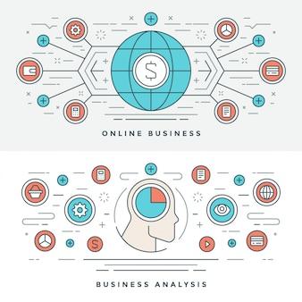 Плоская линия онлайн бизнес анализ концепции иллюстрации.