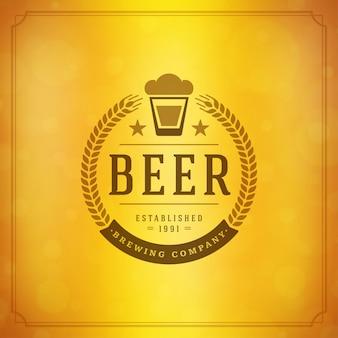 花輪エンブレムと活版印刷デザインのビールジョッキのロゴ