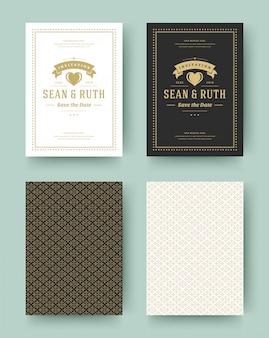 結婚式は日付の招待カードヴィンテージ活版印刷を保存します。結婚式招待状のタイトルデザイン。