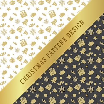 包装紙とグリーティングカードのクリスマスパターン