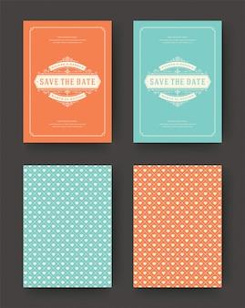 結婚式は日付の招待カードヴィンテージ活版印刷を保存します。