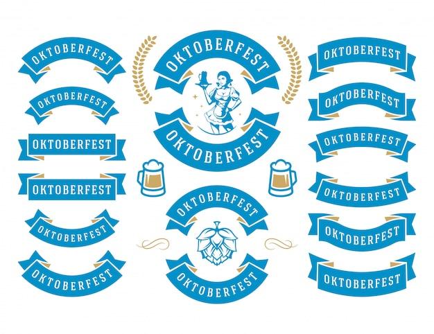 オクトーバーフェストのお祝いビール祭りのリボンとオブジェクト設定ベクトル図