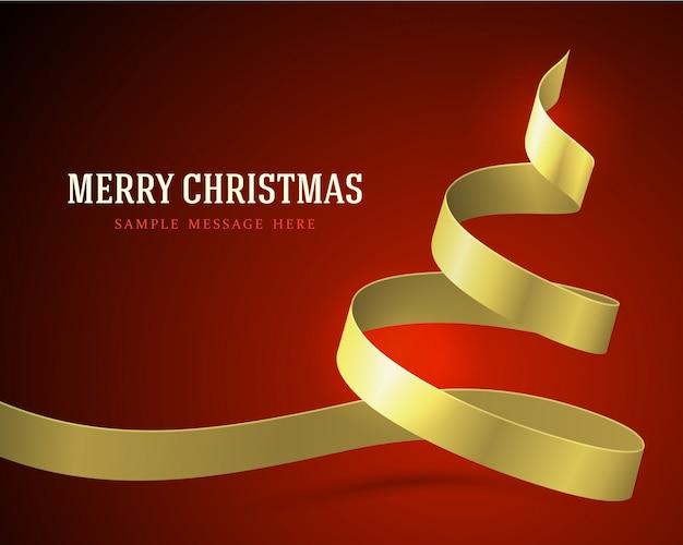 赤の背景に金色のリボンからのクリスマスツリー