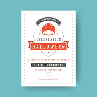ハロウィーンパーティーのフライヤーのお祝い夜パーティーポスターデザインヴィンテージタイポグラフィテンプレート