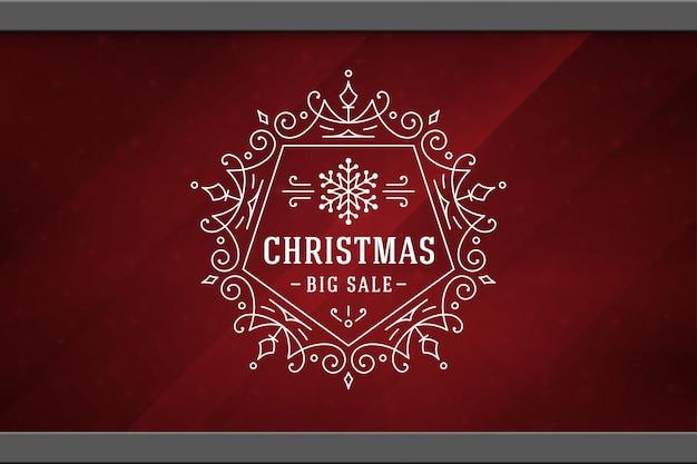 Рождественская распродажа наклейка дизайн этикетки на фоне окна
