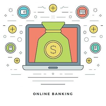 銀行および財務管理とラインデザイン