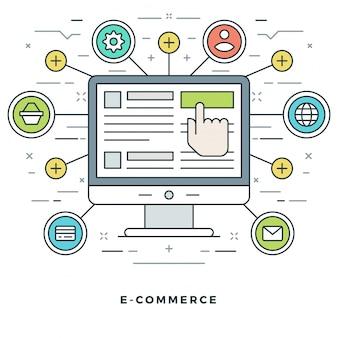 Онлайн покупки и электронная коммерция и дизайн иконок в стиле линии.