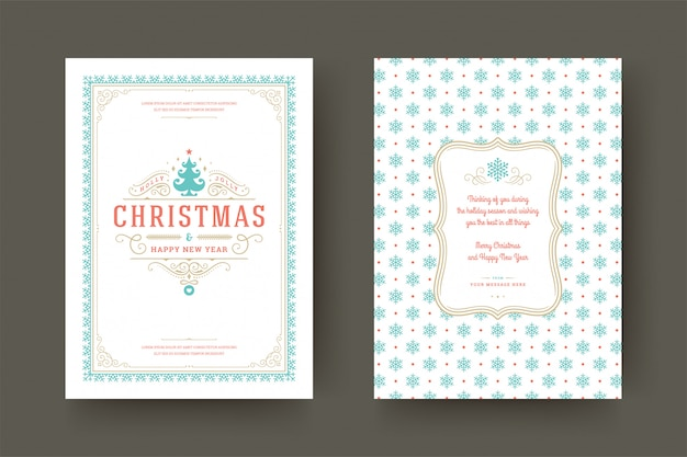 冬の休日の願いとクリスマスグリーティングカードビンテージ活版印刷華やかな装飾記号