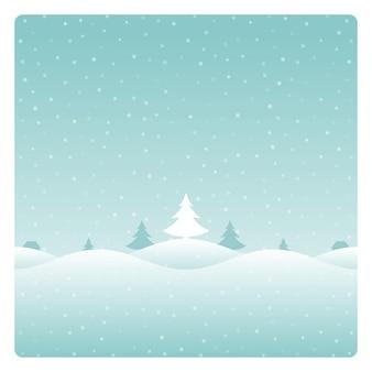 クリスマスレトロな冬の風景と木のグリーティングカード。
