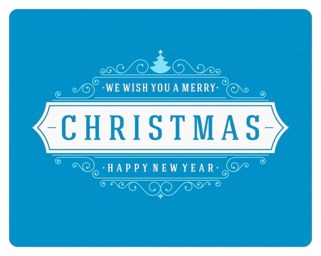 クリスマスレトロなグリーティングカードと飾り装飾。