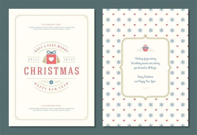 装飾ラベルイラストクリスマスグリーティングカードテンプレート。