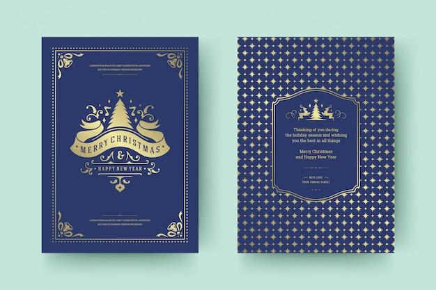 Рождественская открытка винтажный типографский дизайн