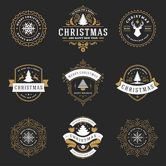 クリスマスラベルとバッジ