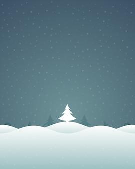 クリスマスレトロな冬の風景と木