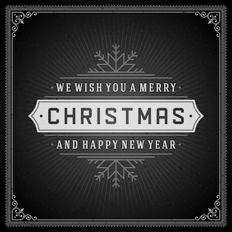 クリスマスレトロなグリーティングカードと飾り装飾