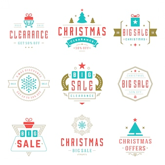 クリスマスセールラベルと文字体裁のバッジ