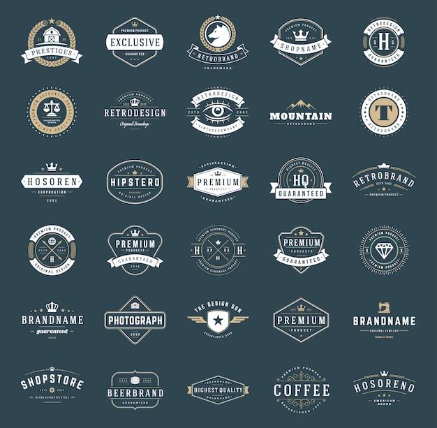 Ретро старинные логотипы и значки установлены типографские
