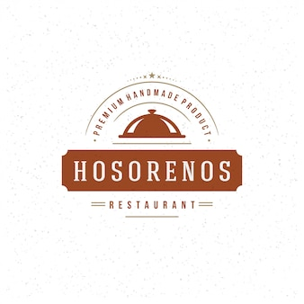 レストランのロゴのテンプレート、肉ステーキシンボルと装飾のメニューとカフェのトレイクローシュ