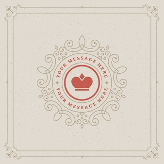 Старинный логотип шаблонов, золотые элегантные украшения процветает с декоративной рамкой границы