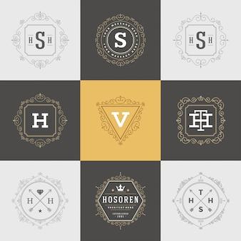Набор шаблонов старинных логотипов, расцветает каллиграфические элегантные орнаменты, рамки и бордюры