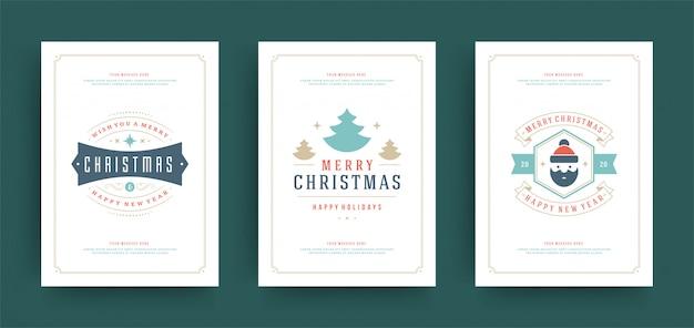 クリスマスのグリーティングカードセットの装飾とデザインテンプレート