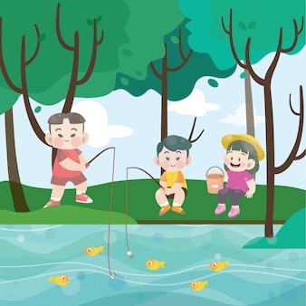 Дети, рыбалка вместе векторная иллюстрация
