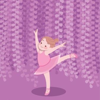 かわいい幸せな子供たちが遊ぶ喜びベクトルバレエダンサー