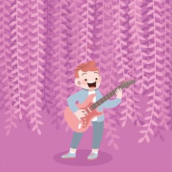 幸せなかわいい子供は音楽ギターのベクトル図を再生します。