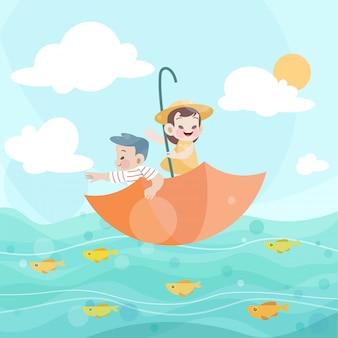 幸せな子供たちが海で一緒に遊ぶ