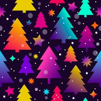 Бесшовный новогодний фон с елками и звездами