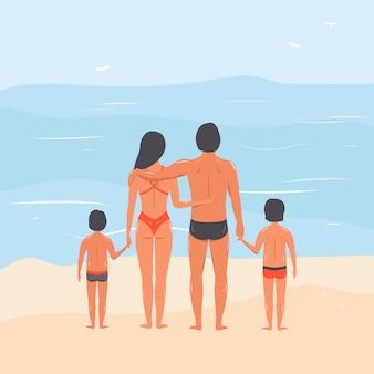 ビーチで家族。海で子供と配偶者。手描きのベクトル図。