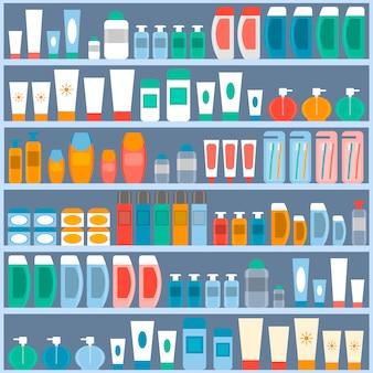 化粧品、衛生、パーソナルケアを保管する棚。