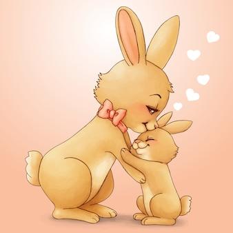 手描きのウサギ母と息子
