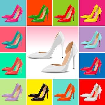 Векторный шаблон обуви, высокие каблуки