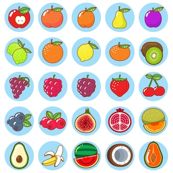Плоские фрукты красочный набор иконок
