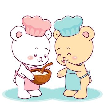 一緒に料理をするかわいい小さなクマ