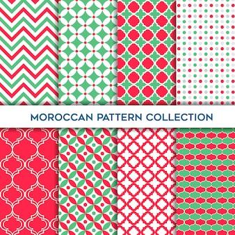 モロッコの幾何学的なシームレスパターンのグリーンとアマランスセット