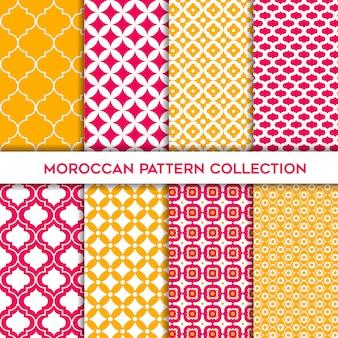 モロッコの幾何学的なシームレスパターンの黄色とマゼンタのセット