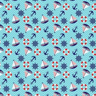 シームレスパターン航海テーマ