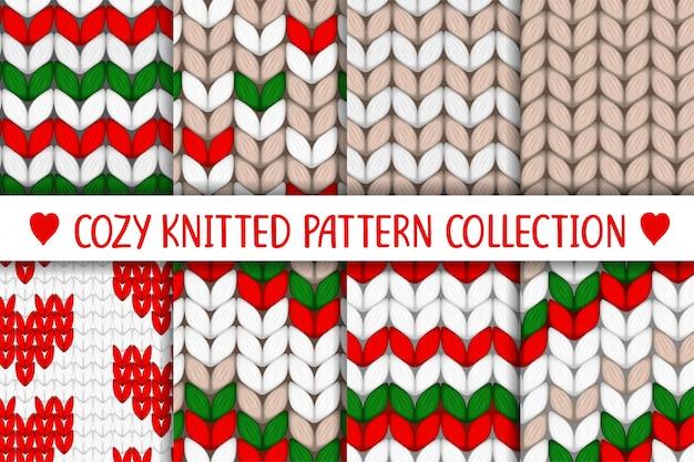 Коллекция вязаных узоров красный зеленый белый бежевый
