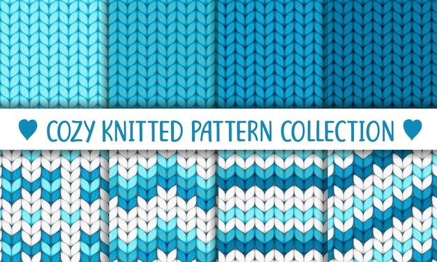 Коллекция вязаных узоров синие и белые, малыш