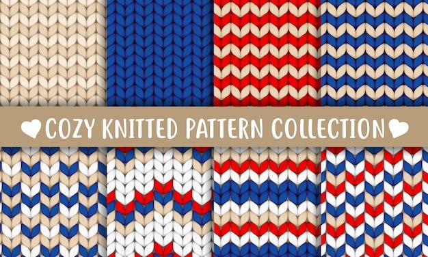 Коллекция вязаных узоров красный синий белый бежевый