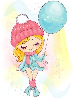Симпатичные рисованной маленькая девочка сидит и держит воздушный шар
